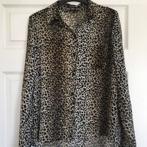 Forever 21 Leopard Print Button Up Blouse